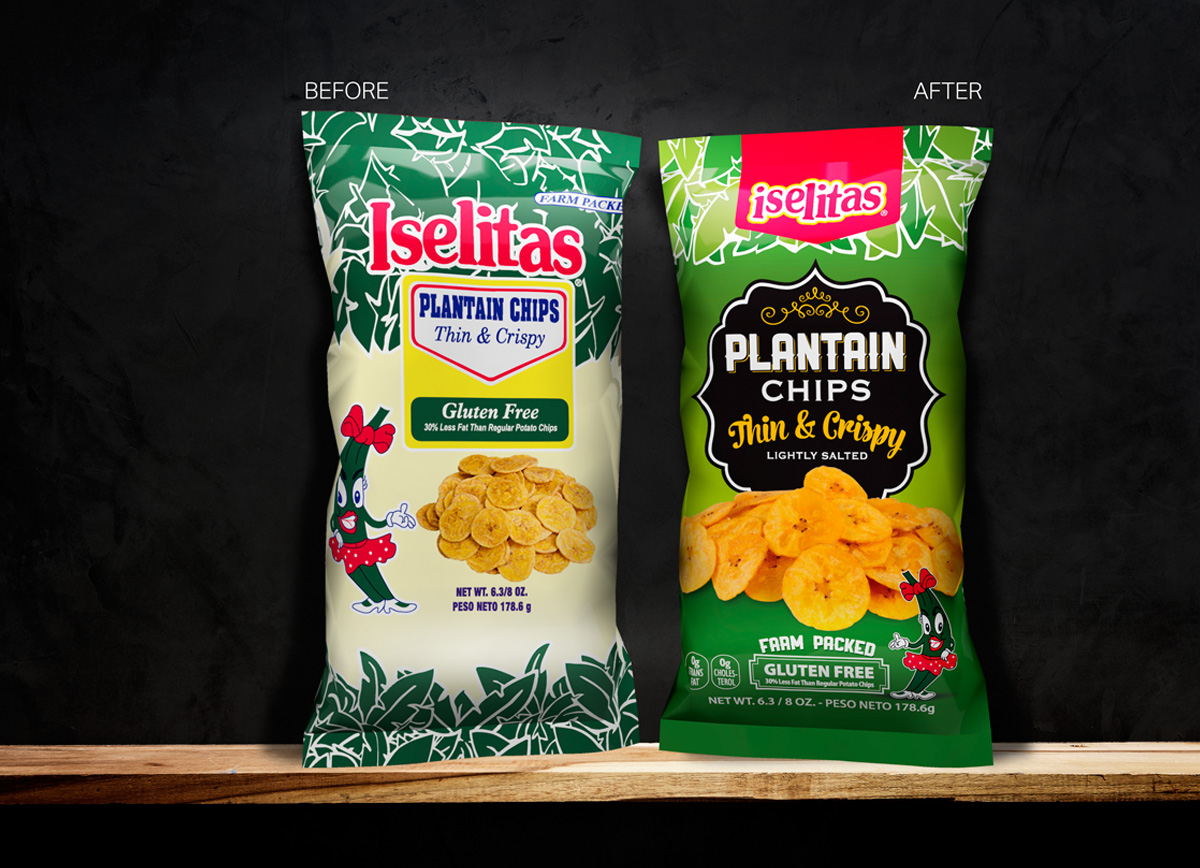 Iselitas Plantain Chips before and after design