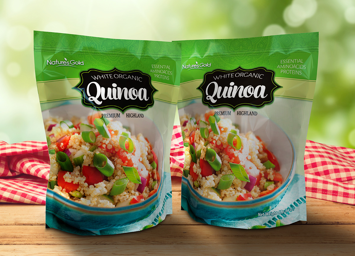 Nature Gold quinoa pouch design