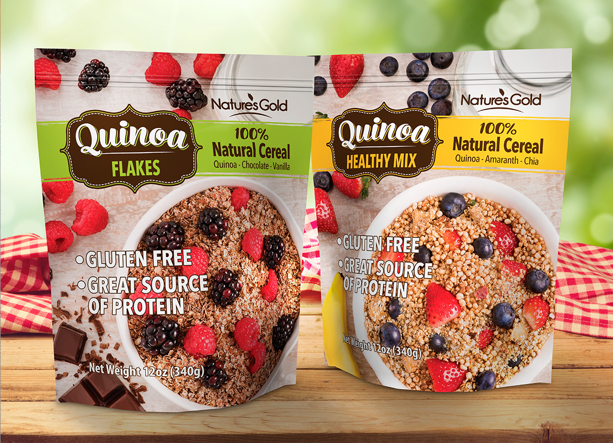 Nature Gold quinoa cereal pouch design