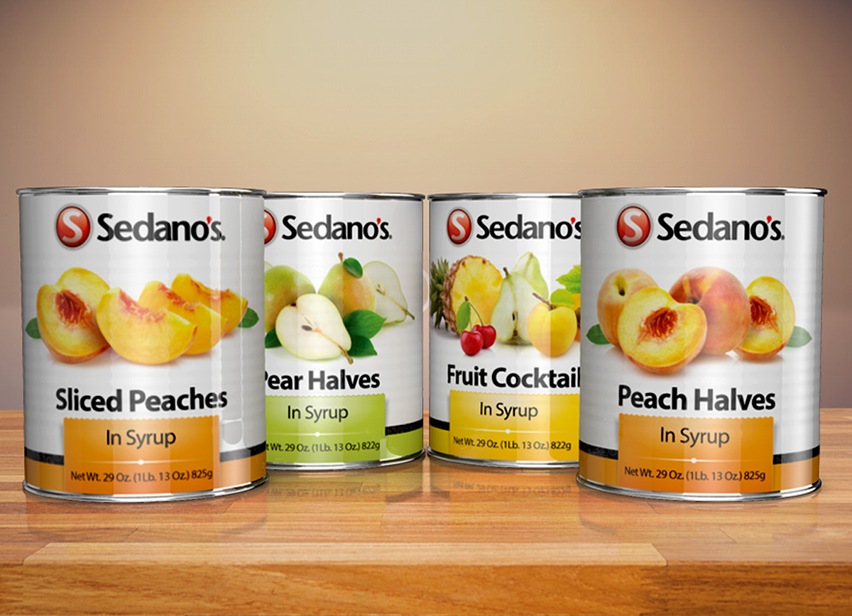Sedanos Canned Fruit label design