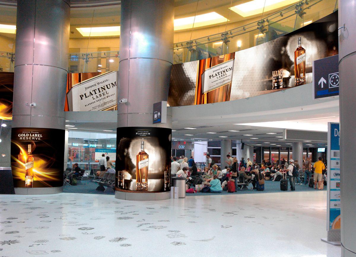 Johnnie Walker Platinum-Gold MIA airport Column Graphic