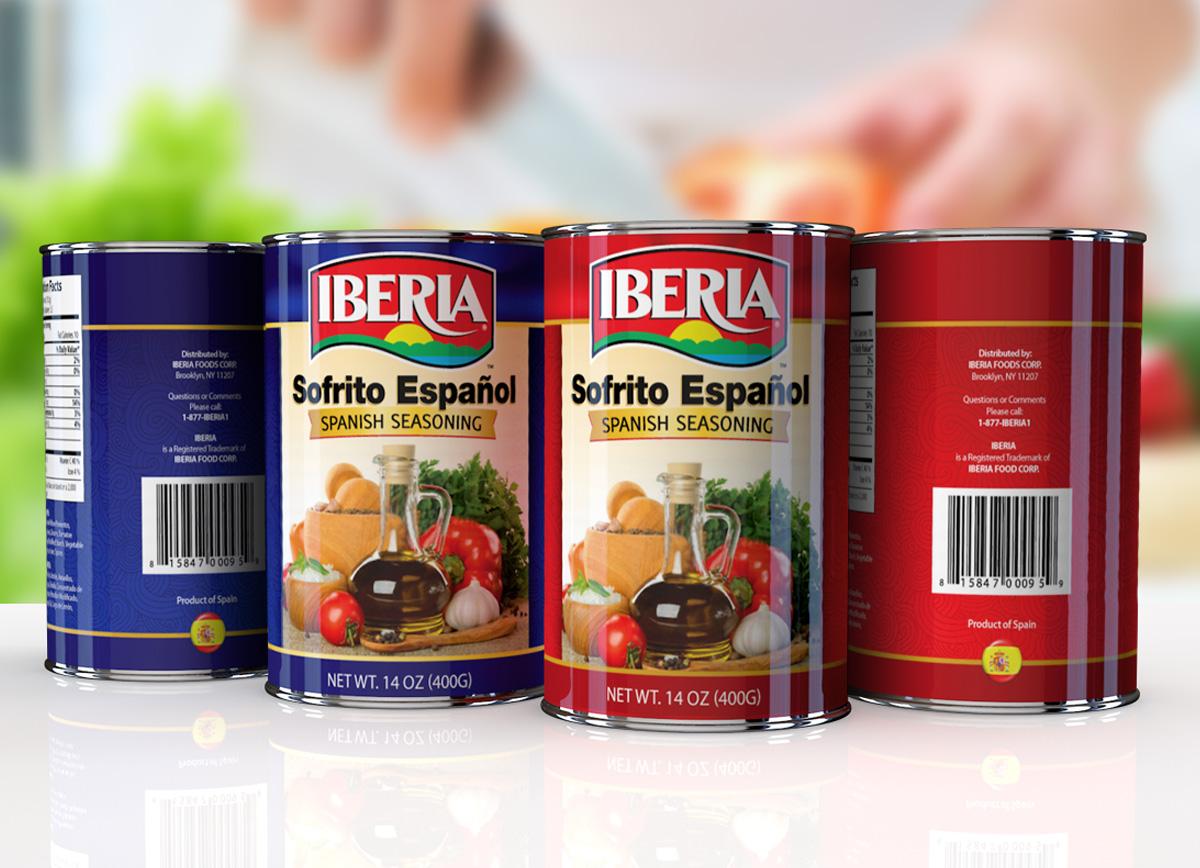 Iberia canned food label design