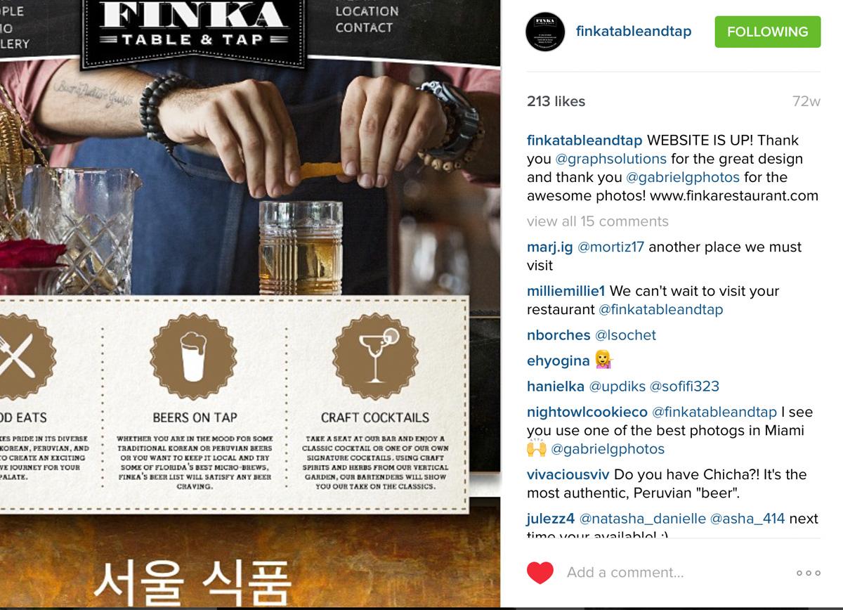 Finka instagram post