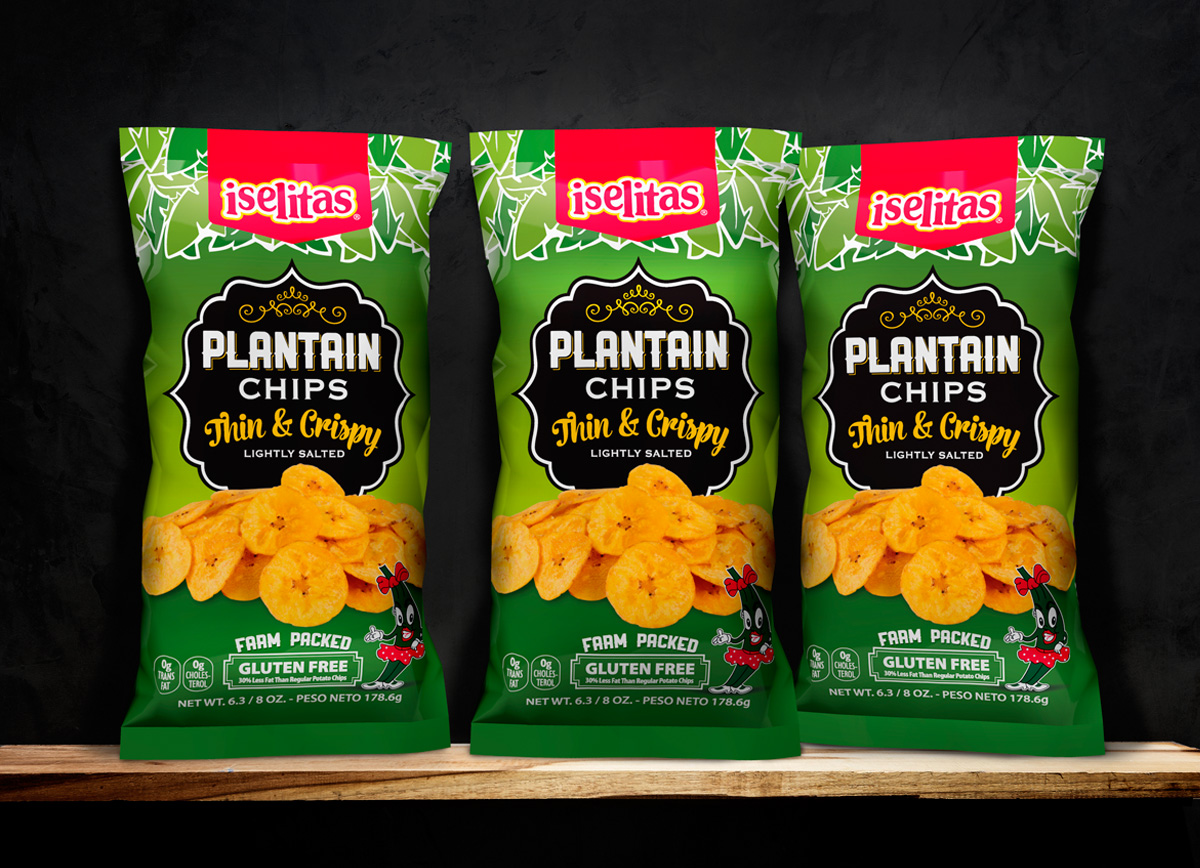 Iselitas Plantain Chips packaging design