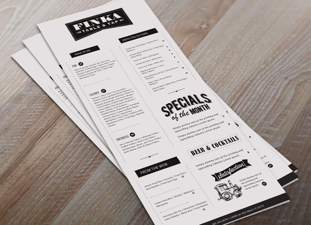 Finka menu design